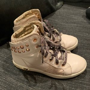 Sketchers Pink/Gold Size 3 High Top Sneakers